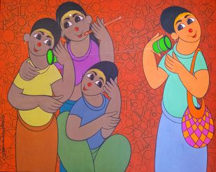childhood fun by Dnyaneshwar Bembade, Expressionism Painting, Acrylic on Canvas, Cedar Chest color