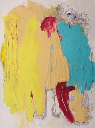 Inseparable - 1 by Rashmi Khurana, Abstract Painting, Acrylic & Ink on Paper, Yellow color