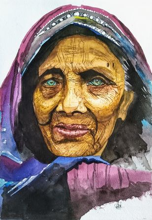 Old Beauty by Pooja Wadekar, Impressionism Painting, Watercolor on Paper, Shark color