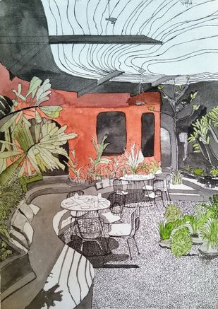 Architectural Beauty by Pooja Wadekar, Expressionism Painting, Watercolor on Paper, Natural Gray color