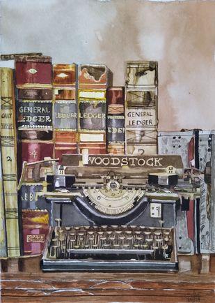 Vintage Workspace by Pooja Wadekar, Impressionism Painting, Watercolor on Paper, Bronco color