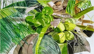 Coconut Tree by Pooja Wadekar, Impressionism Painting, Watercolor on Paper, Asparagus color