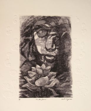 Me the Flower by Kavita Nayar , Illustration Printmaking, Intaglio on Paper, Stark White color