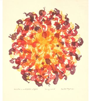 In my Womb by Kavita Nayar , Expressionism Printmaking, Etching on Paper, Jelly Bean color