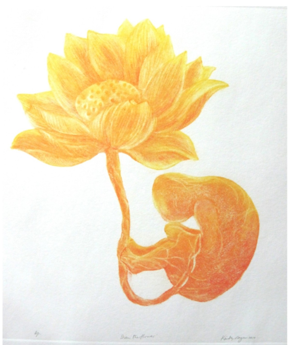 I am the flower by Kavita Nayar , Expressionism Printmaking, Etching on Paper, Cream Can color