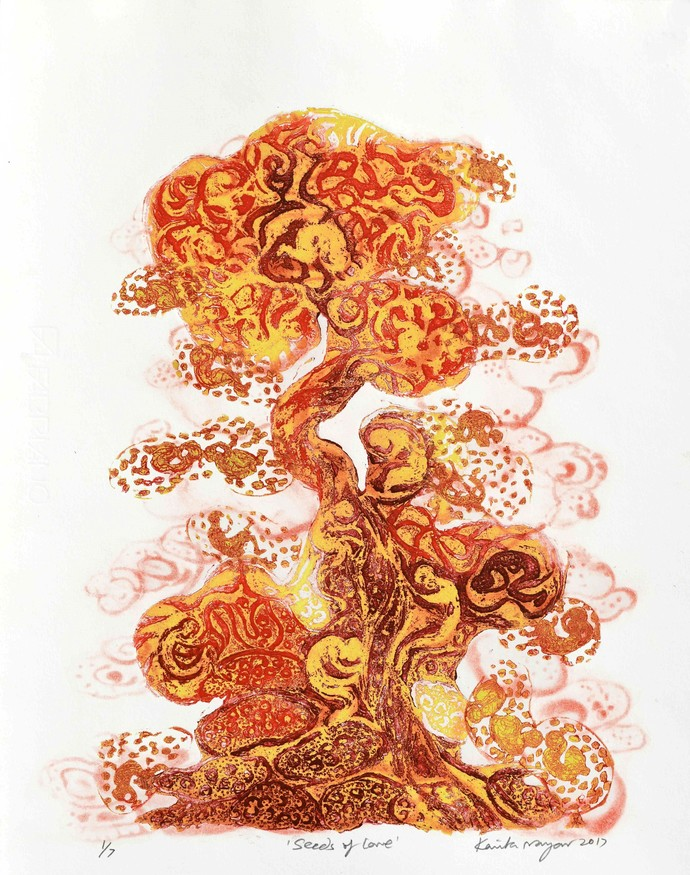 Seeds of Love by Kavita Nayar , Expressionism Printmaking, Etching on Paper, Paarl color