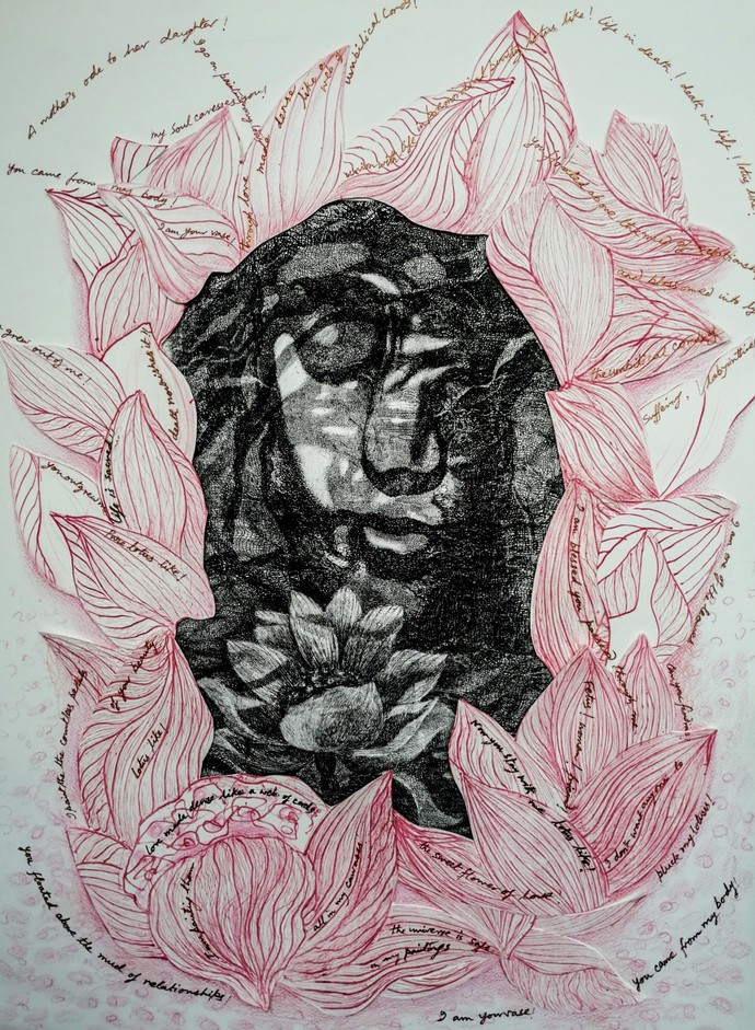 Me the Flower by Kavita Nayar , Expressionism Drawing, Hand Cut Paper, Silver color