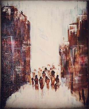 Following the crowd by Richa Sikaria, Expressionism Painting, Acrylic & Ink on Canvas, Cocoa Brown color