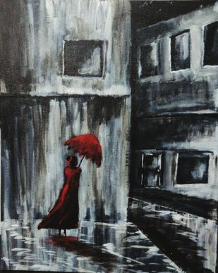 Loner by Richa Sikaria, Impressionism Painting, Acrylic & Ink on Canvas, Onyx color