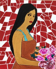 Lady with flowers by Shruti Vij, Pop Art Painting, Acrylic on Canvas, Sweet Brown color