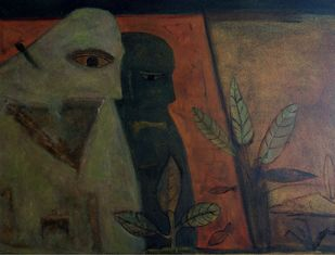 Tribal life 1 by Umesh Bhoi, Expressionism Painting, Oil on Canvas, Taupe color