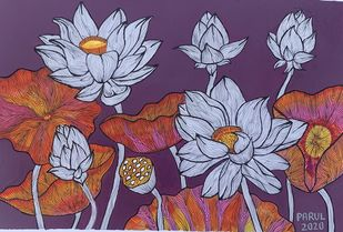 Floral paradise by Parul Aggarwal, Expressionism Painting, Acrylic & Ink on Paper, Eggplant color