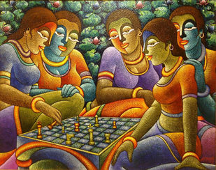 Positive Energy by HARISH KUMAR, Expressionism Painting, Acrylic on Canvas, Spice color