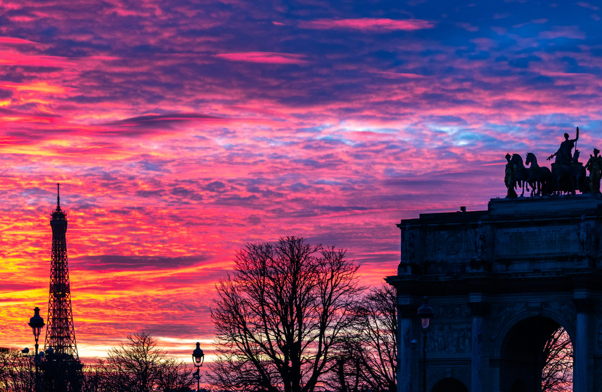 Crimson Sunset in Paris by Sayandeep Nag, Image Photography, Print on Paper,