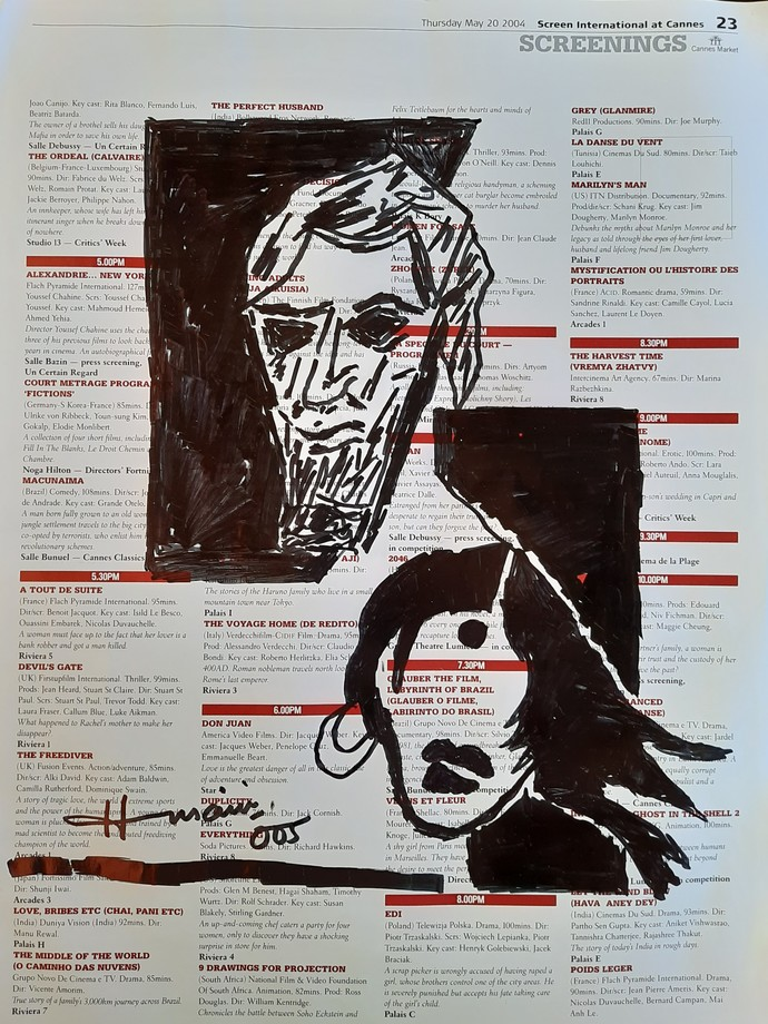 Faces by M F Husain, Expressionism Drawing, Pen on Paper, Cocoa Brown color