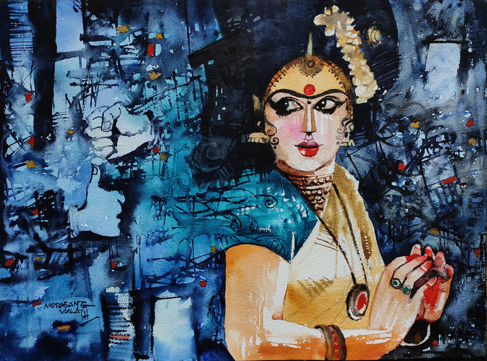 Scared of... by Mopasang Valath, Expressionism Painting, Watercolor on Paper, Mirage color