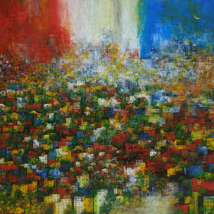 The Green City by M Singh, Abstract Painting, Acrylic on Canvas, Spice color