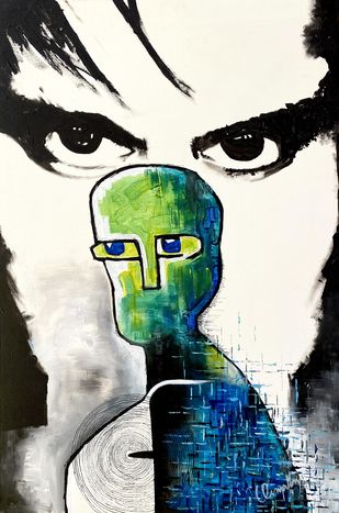 Inside and Outside by Umapathy, Expressionism Painting, Acrylic on Canvas,