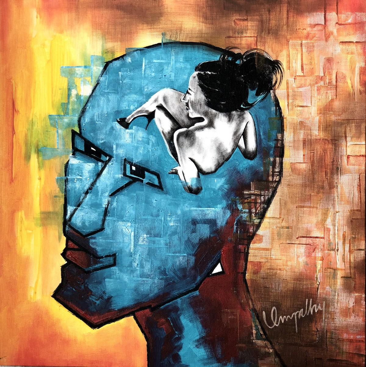 The Mind by Umapathy, Expressionism Painting, Acrylic on Canvas,