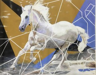 Equine -The Galloping Kaiser by Neerajj Mittra, Expressionism Painting, Oil on Canvas, Cotton Seed color