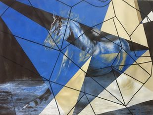 Equine - Kaiser The Power by Neerajj Mittra, Geometrical Painting, Oil on Canvas, Akaroa color