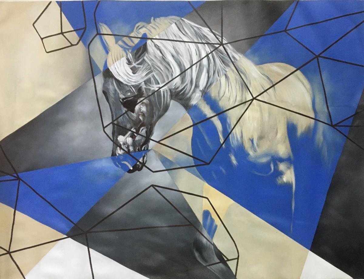 Equine - Kaiser The passion by Neerajj Mittra, Geometrical Painting, Oil on Canvas, Sisal color
