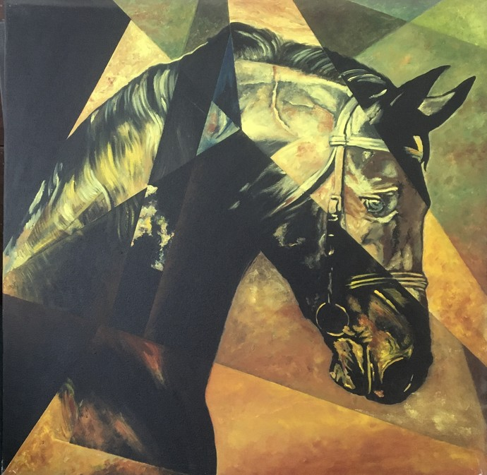 Equine - The Kaiser by Neerajj Mittra, Geometrical Painting, Oil on Canvas, Cape Cod color