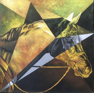 Equine - Kaiser The Majesty by Neerajj Mittra, Geometrical Painting, Oil on Canvas, Merlin color