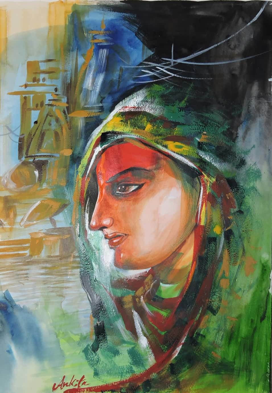 Eternal Beauty of Indian Culture. by Ankita Upadhyay, Impressionism Painting, Watercolor on Paper, Lunar Green color