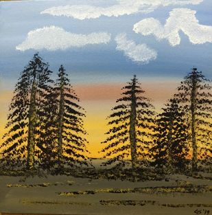 Sunset Trees by Gitika Singh, Expressionism Painting, Acrylic on Board, Green Spring color