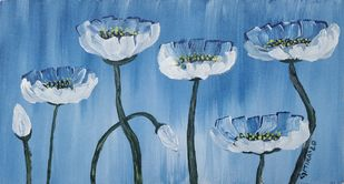 Spring Flowers by Gitika Singh, Expressionism Painting, Acrylic on Canvas, Cerulean Frost color