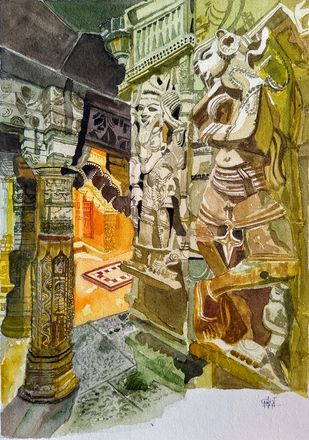 Interior Of Ancient Temple by Pooja Wadekar, Expressionism Painting, Watercolor on Paper, Gold Fusion color