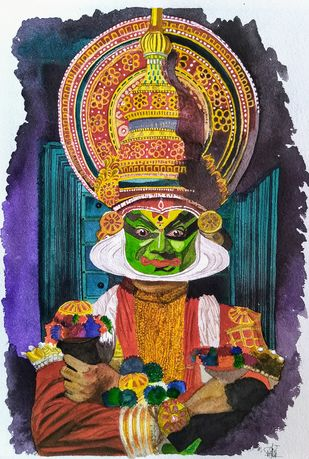 Kathakali Beauty by Pooja Wadekar, Expressionism Painting, Watercolor on Paper, Brandy color