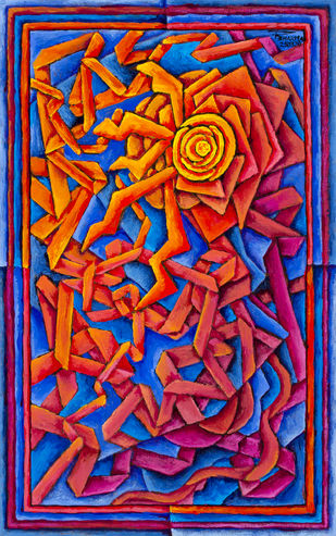 Untitled 250320 by Ratish Sharma, Geometrical Painting, Acrylic on Acrylic Sheet, Persian Red color
