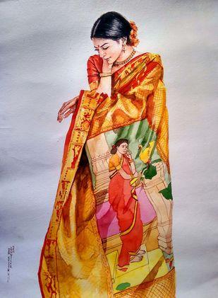 Lady with Ravi rarma painting saree by Sreenivasa Ram Makineedi, Impressionism Painting, Watercolor on Paper, Pale Slate color