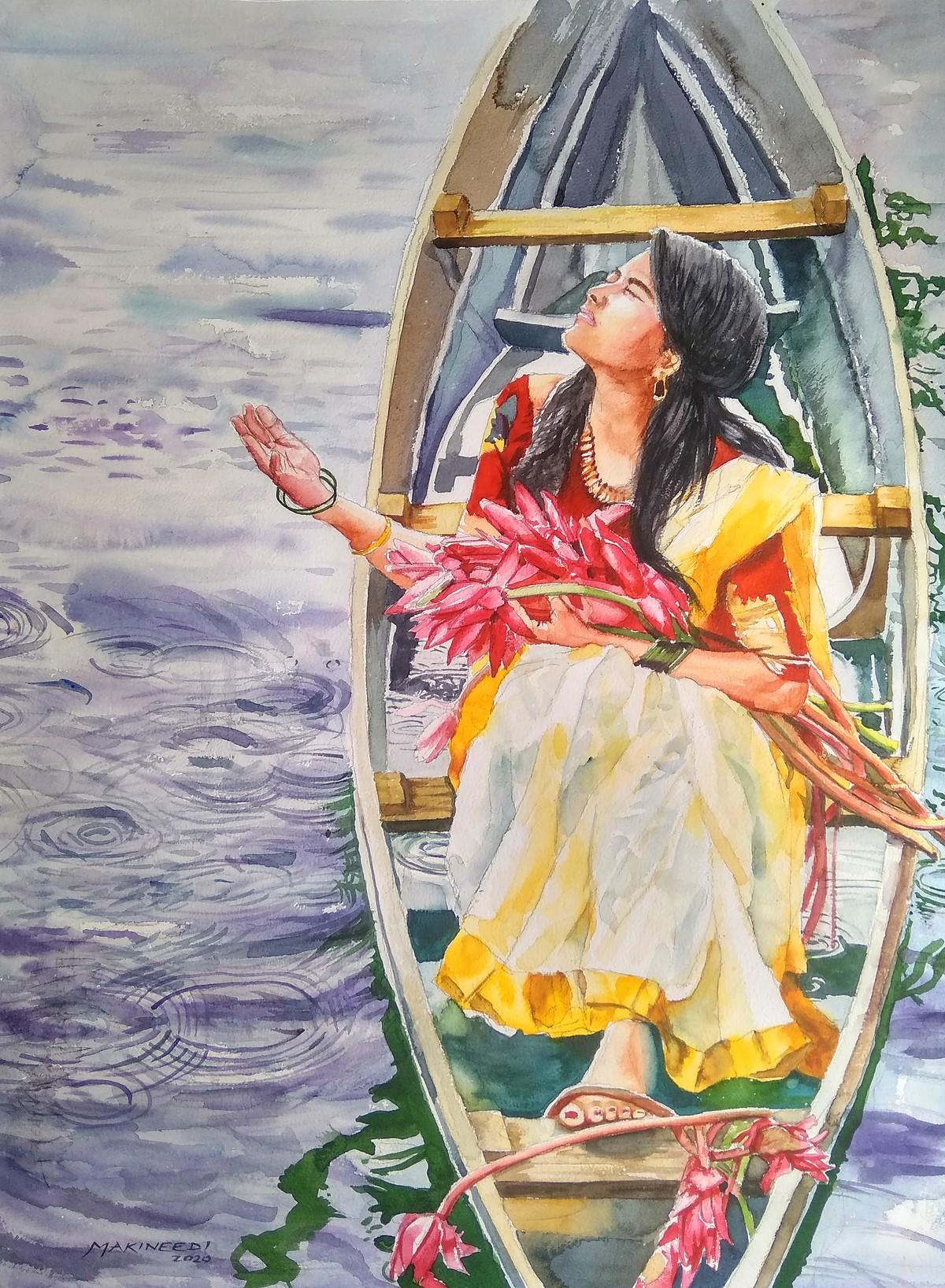 Let the Rain comedown by Sreenivasa Ram Makineedi, Impressionism Painting, Watercolor on Paper, Tide color