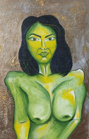 Untitled by Srishti Bansal, Expressionism Painting, Mixed Media on Canvas, Avocado color