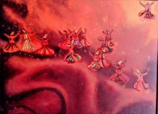 'Out beyond ideas of right doing and wrong doing, there is a field, I will meet you there.' Rumi by Parul Bali Chopra, Expressionism Painting, Oil on Canvas,