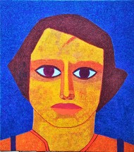 My niece by Amit Biswas, Expressionism Painting, Tempera on Canvas, Fire Bush color