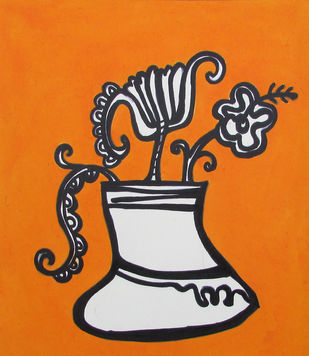 Flower Vase 2020 by Amit Biswas, Expressionism Painting, Acrylic on Paper, Thunder color