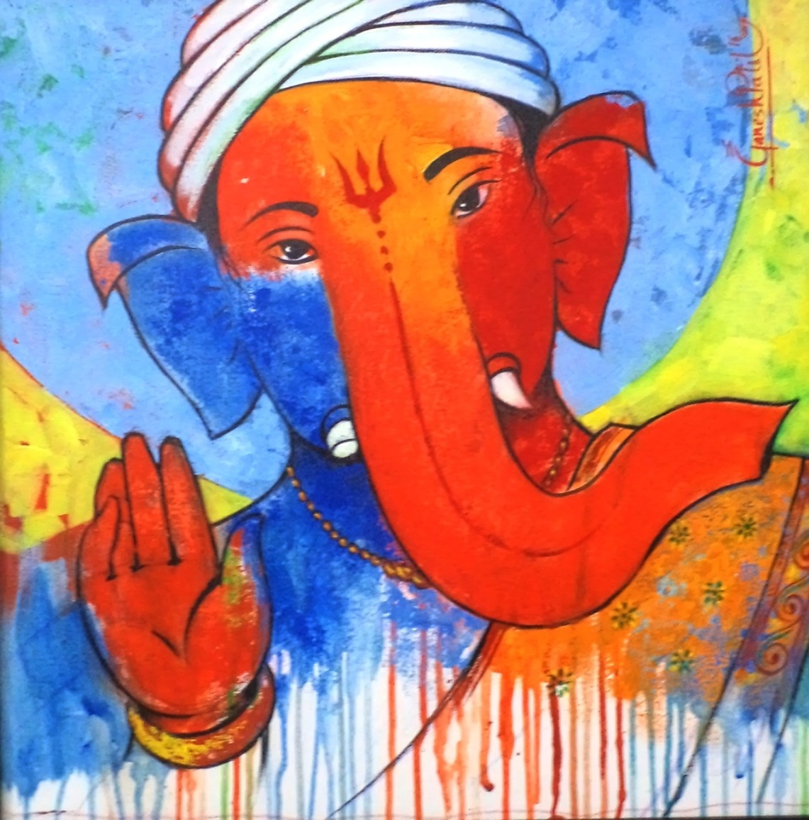 Ganesha 010 by Ganesh Patil, Expressionism Painting, Acrylic on Canvas, Azure color