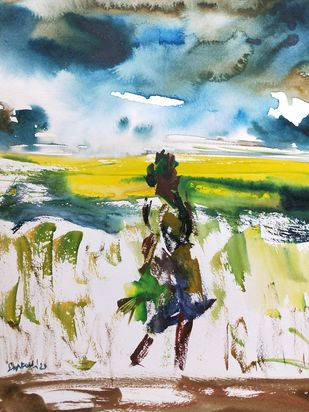 Karma by Santosh Keshari , Impressionism Painting, Watercolor on Paper, Limed Spruce color