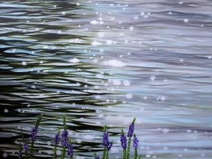Sparkling Waters by Shveta Saxena, Impressionism Painting, Acrylic on Canvas, Manatee color