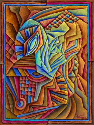 Untitled 170420 by Ratish Sharma, Geometrical Painting, Oil on Canvas Board, Nutmeg color