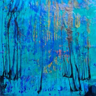 underwater by Sharad Bhardwaj , Abstract Painting, Acrylic on Canvas, Blue Green color