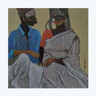 Indian couple by sharath kumar , Expressionism Painting, Acrylic & Ink on Paper, Flint color
