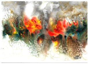 The Forest Fire by Suman Choudhury, Abstract Painting, Watercolor on Paper, Hillary color