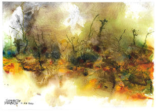The Fire 2 by Suman Choudhury, Abstract Painting, Watercolor on Paper, Driftwood color