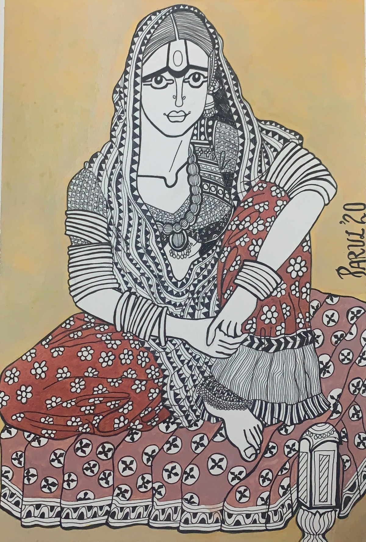 The golden smile by Parul Aggarwal, Expressionism Painting, Acrylic & Ink on Paper, Hillary color