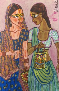 Friendship by Parul Aggarwal, Expressionism Painting, Acrylic on Paper, Domino color